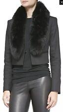 Alice + Olivia Ridley Raccoon Fur Collar Black Crop Jacket Top Size 4 $796 NWOT