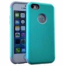 For iPhone 5 / 5S / 5C - HARD TPU GUMMY RUBBER HYBRID SKIN CASE MINT BLUE ARMOR