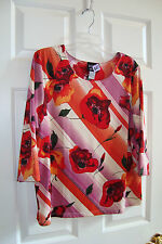 Koos of Course! Red Floral Print Polyester Stretch 3/4 Sleeve Boatneck Top L EUC