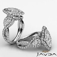3 Stone Marquise Diamond Solid Engagement Ring GIA I VS2 14k White Gold 2.4 ct