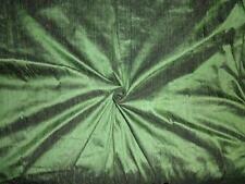 Pure Silk Dupioni Fabric Leafy Green x Black colour