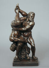 "Nude Male Wrestlers. ""Hercules and Antaeus"" in Fine Bronze."