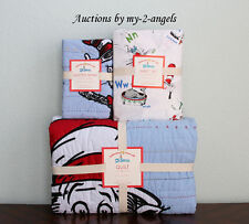 NEW Pottery Barn Kids DR. SEUSS CAT IN THE HAT Twin Quilt+Sham+Sheet Set