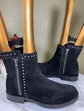 Frye Women's Black Natalie Stud Double Zip Boot Round Toe 73282 Suede Leather 8M