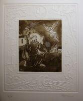 Laszlo Feszt 1930 - 2013 Grafiker Rumänien Ungarn Radierung Franz von Assisi V X