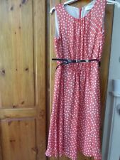 Wallis Ladies Coral Spotted Sleeveless Dress Size 10 Petite