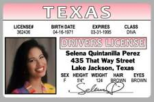 Selena Quintanilla Perez Lake Jackson Texas TX Novelty Drivers License ID Card