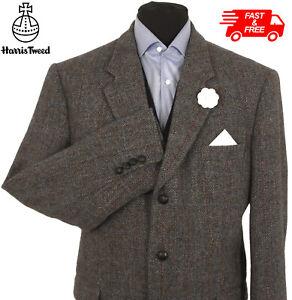 Harris Tweed Jacket Blazer 46R Herringbone Windowpane Country Check Weave Grey
