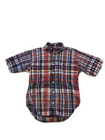 Ralph Lauren Boys Red/Blue Plaid Cotton Short Sleeve Button Down Shirt Sz S