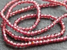 "TINY 1.9mm MICRO FACETED GARNET RONDELLES, 13"", 185 beads"