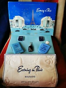VINTAGE BOURJOIS EVENING IN PARIS PERFUME GIFT BOX COMPLETE SET- NOT USED