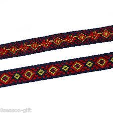 "Cotton Ribbon Trim Multicolor Rhombus Woven 12.0mm( 4/8""), 5 M"