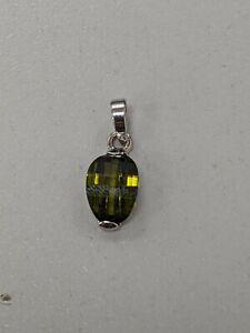 Jewellery Pendant Sterling Silver and Green Gemstone Peridot-Look #SH