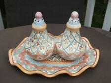 MacKenzie Childs Heather Salt & Pepper Shakers with Underplate Tray EXC