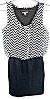 BONGO Bodycon Dress Size Small Blouson top Stretch skirt Black & White Chevron