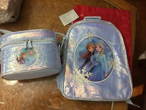 Lot of 2 Disney Anna and Elsa Backpack & Lunch Box Frozen 2 NWT