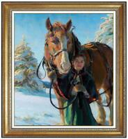 Hand-painted Oil painting art Original Impressionism horse girl on Canvas