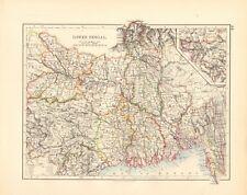 1897 ANTIQUE MAP- JOHNSTON - INDIA - LOWER BENGAL