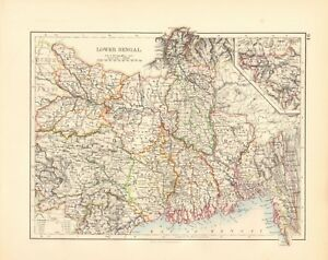 1897 ANTIQUE MAP- JOHNSTON - INDIA - LOWER BENGAL