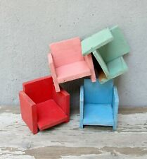 Vintage Dollhouse Chairs, Old New Stock Handmade Doll house Furniture, 1940s toy