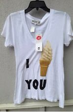 $79 NWT Wildfox Soft Solid White I Ice Cream You Graphic V Neck Tee Size S