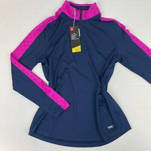 Under Armour Womens Zinger Feather 1/4 Zip Blue Pink Long Sleeve Medium Shirt