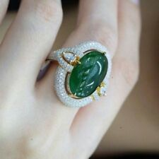 18K Gold Filled Natural Gemstone Woman Emerald Ring White Topaz Jewelry Size 10