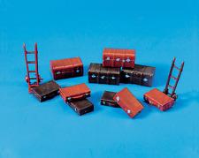 Modelscene 5062 Trunks x4, Suitcases x6 Trolley, Sack Truck x2 OO Gauge