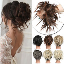 Natural Thick As Human Curly Messy Bun Hair Scrunchie Piece Fake Hair Extensions