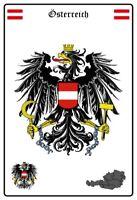 Österreich Wappen Blechschild Schild gewölbt Metal Tin Sign 20 x 30 cm