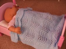 DOLLS HAND KNITTED BLANKET, COT / PRAM   BLUE LACE PATT , BABY ANNABELL
