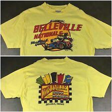 Vintage Mens XL 1983 Sprint Car Race Belleville Kansas Nationals Yellow T-Shirt