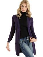 Cardigan Donna in lana Maglia manica lunga viola L XL Sensì Made in Italy