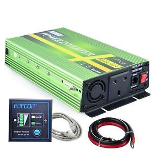 EDECOA Power Inverter Pure Sine Wave 12V 240V 1000W 2000W UK Sockets with Remote
