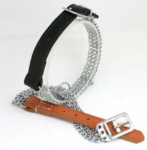 Kettenhalsband 3fach mit Lederendstück Hundehalsband handgenäht MADE IN GERMANY