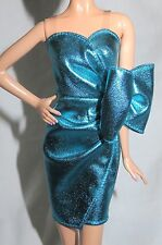 LOOK DRESS ~ BARBIE DOLL CITY SHINE METALLIC BLUE COCKTAIL GOWN MODEL MUSE