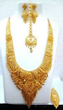 Indian 22K Gold Plated 12'' Long Bridal Raani Necklace Earrings Tikka Ring .mm