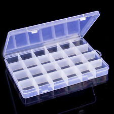 24 COMPARTMENT PLASTIC STORAGE BOX BIN JEWELRY EARRING CASE CONTAINER CRAFT BEAD