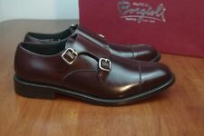 NIB FRATELLI BORGIOLI Maroon Smooth Leather Double Monk Shoes Santoni UK8/US9