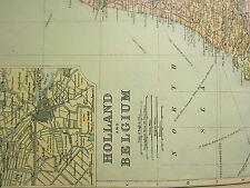 1894 ANTIQUE MAP ~ HOLLAND & BELGIUM BRABANT FLANDERS ANTWERP BRUSSELS AMSTERDAM