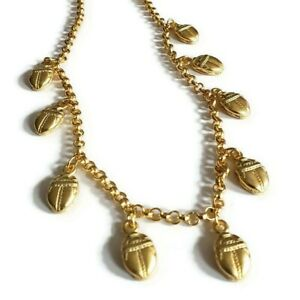 Vintage Egyptian Scarab Revival Gold Tone Matte Bead Drop Chain Collar Necklace