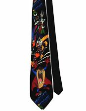 "Looney Tunes Men's 100% Silk Novelty Neck Tie Black Multi 3 7/8"" x 59"""