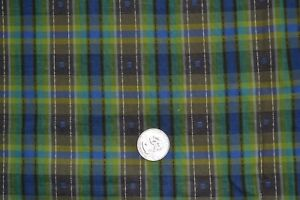 """Cotton quilting fabric 34.5"""" x 1.5 yards, vintage plaid green blue brown"""