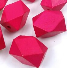 27x20mm Geometric Pink Wood Polyhedron faceted Beads (7)