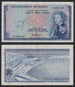 Malta 5 pounds 1949 (61) BB/VF  B-10