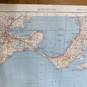 Vintage Queenscliff Victoria Royal Australian Survey Corp Map Geelong Frankston