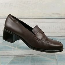 Rockport Womens Brown Leather Comfort DMX Penny Loafers Block Heel Shoes Sz 10 M