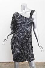 CATHERINE MALANDRINO Womens Silk Print Draped Assymetric Short Sleeve Dress 4