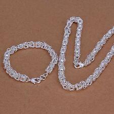 Argent sterling 925 plaqué mode beau Collier Bracelet Ensemble Bijoux S29