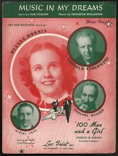 Music In My Dreams Deanna Durbin 100 Men and a Girl Sheet Music